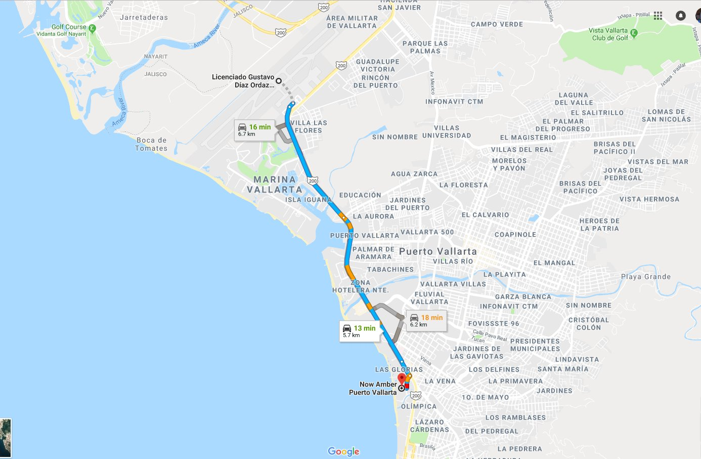 Distance from PVR Airport to Now Amber/Secrets Resorts